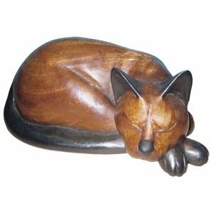 Acacia Wood Cat Sleeping - 27cm