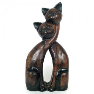 Acacia Wood Cats Long Entwined Necks - 40cm