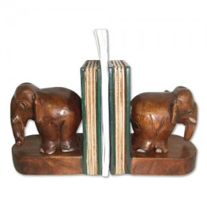 Acacia Wood Elephant Bookends