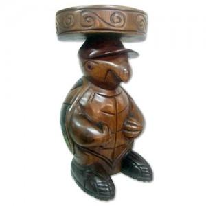 Acacia Wood Turtle Stool/Side Table