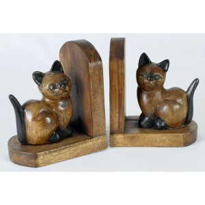 Acacia Wood Cat Bookends