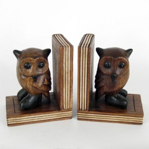 Acacia Wood Owl Bookends