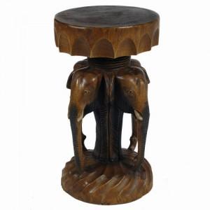 Acacia Wood Elephant Head Plant Stand Stool Table