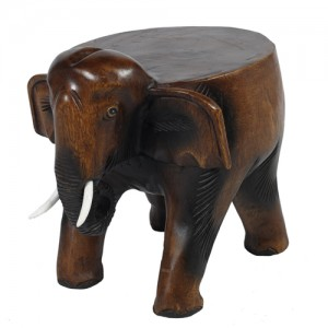 Acacia Wood Elephant Lamp/Plant Stand Stool 28.5cm