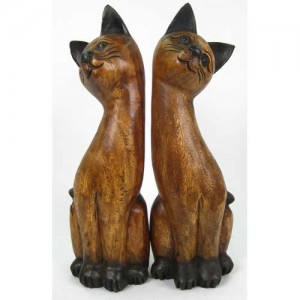 Acacia Wood Cats - Set/2 Long Neck 52cm