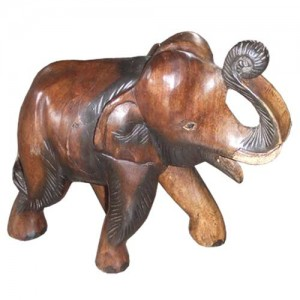 Acacia Wood Elephant Trunk Up - 16cm