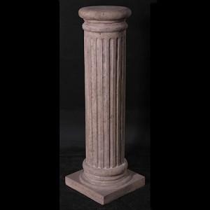 Fluted Round Pedestal - Roman Stone Finish