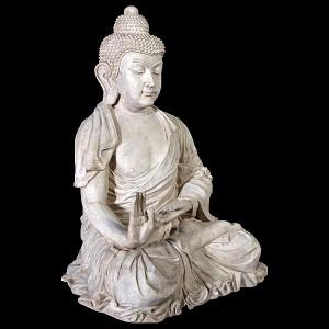 Enchanting Thai Buddha Resin Statue - Roman Stone Finish