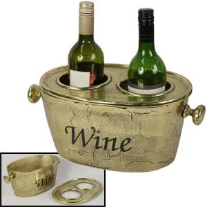 Aluminium Wine Bucket Brass Industrial Finish 38cm