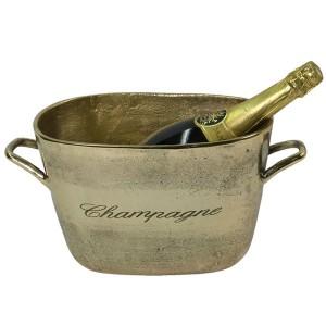 Aluminium Champagne Wine Bucket Brass Industrial Finish 39cm