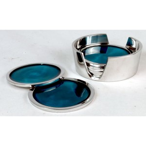 Aluminium Set of 6 Coasters Blue