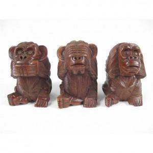 Suar Wood Monkeys Hear No Evil, See No Evil, Speak No Evil