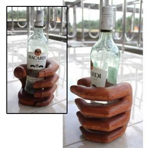 Hibiscus Wood Hand Wine Bottle Holder