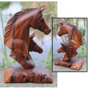 Suar Wood Horse Head 40cm (387065)