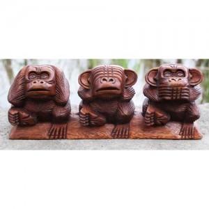 Suar Wood Monkeys 'Hear No Evil, See No Evil, Speak No Evil'