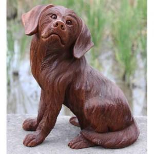 Suar Wood Sitting Dog - 30cm