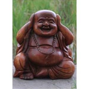 Suar Wood Happy Buddha sculpture Hear No Evil