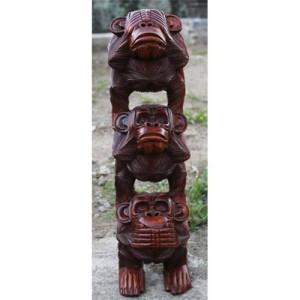 Suar Wood Monkey Stack 'Hear No Evil, See No Evil, Speak No Evi