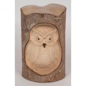 Crocodile Wood Owl Carving Natural - 15cm