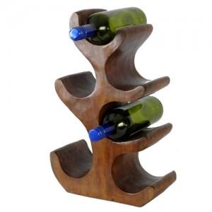 Suar Wood Abstract Tree Wine Rack (6 Bottles)