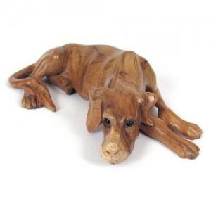 Suar Wood Lying Dog Natural Finish - 40cm