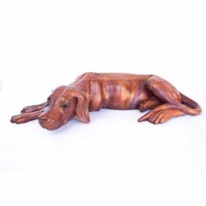 Suar Wood Lying Dog - 60cm