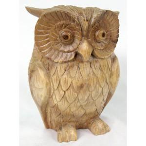 Suar Wood Owl Natural Finish 23cm
