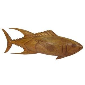 Suar Wood Tuna Fish Sculpture - 50cm