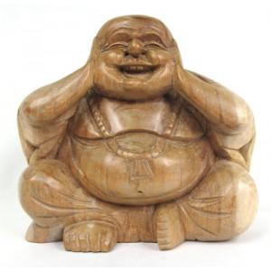 Suar Wood Happy Buddha sculpture Hear No Evil - Natural