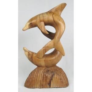 Suar Wood Dolphins Sculpture - 40cm