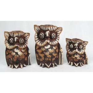 Albesia Wood Owl Figures - Set/3