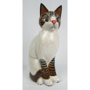 Albesia Wood Cat Figure