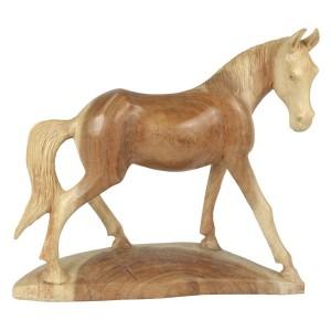 Suar Wood Horse Statue Natural Finish - 38cm