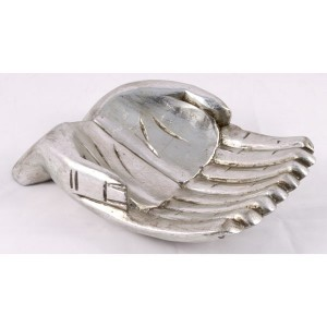 Suar Wood Hand Bowl Antique Silver Finish 24cm