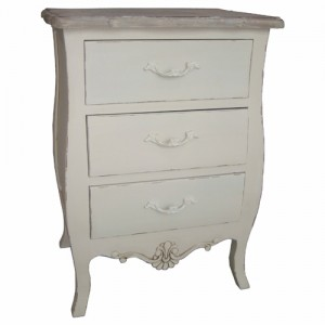 Loire Range Antique Cream French Style 3 Drawer Bedside Table
