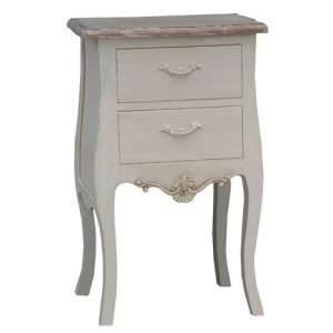 Loire Range Antique Cream French Style 2 Drawer Bedside Table