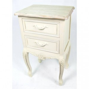 Victorian Range Cream French Style 2 Drawer Bedside Table
