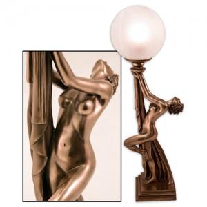 Art Deco Natasha Nude Lady Figurine Table Lamp + Free Bulb