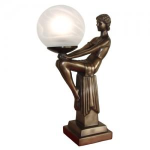 Art Deco Sitting Lady Figurine Table Lamp + Free Bulb