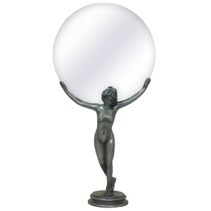 Dancing Nouveau Resin Lady Mirror - Pewter Finish