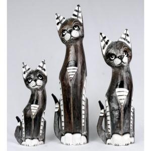 Albesia Wood Striped Cat Figures - Set/3