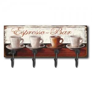 Espresso Bar Wall Coat Hanger (4 Hooks)