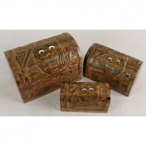 Mango Wood Owl Design Domed Trinket Jewellery Boxes - Set/3