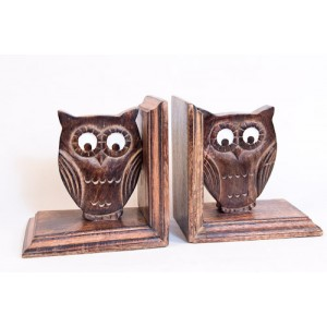 Mango Wood Ollie Owl Design Bookends