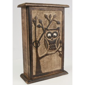 Mango Wood Key Box Owl Design