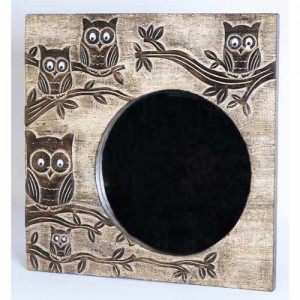 Mango Wood Square Ollie Owl Design Mirror