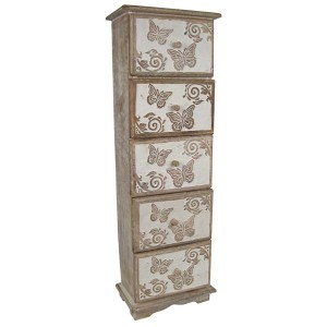 Mango Wood Butterfly Design Chest of 5 Drawers