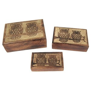 Mango Wood Owl Design Trinket Jewellery Boxes - Set/3
