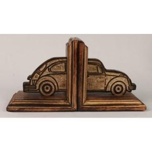 Mango Wood Volkswagen Beetle Car Design Bookends