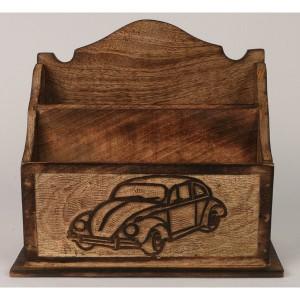 Mango Wood Volkswagen Beetle Car Design Letter Rack